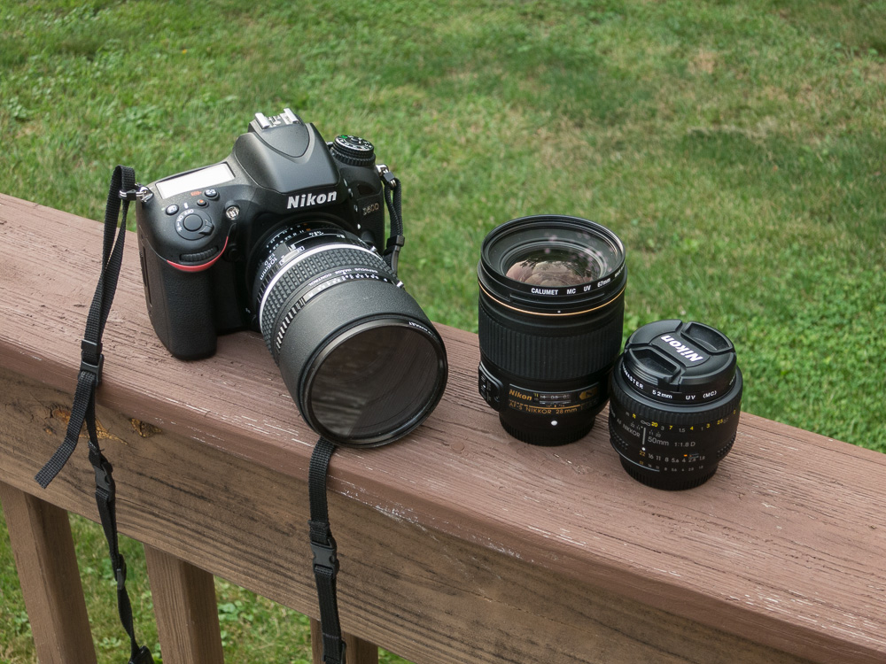 The D600 and my three main lenses that I shoot nearly everything on: the 105mm DC f2, the cheapo 50mm 1.8 and the 28mm f1.8.