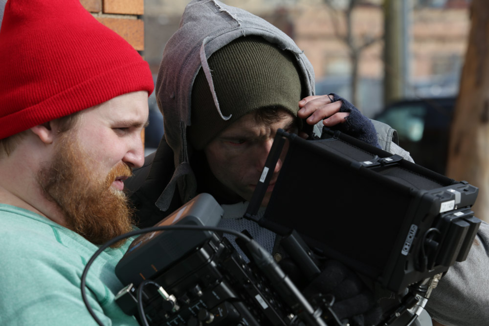 Our valiant DP/cast member on the Life Aquatic Derek Cox inspects a shot. (Photo by Will Thwaites)